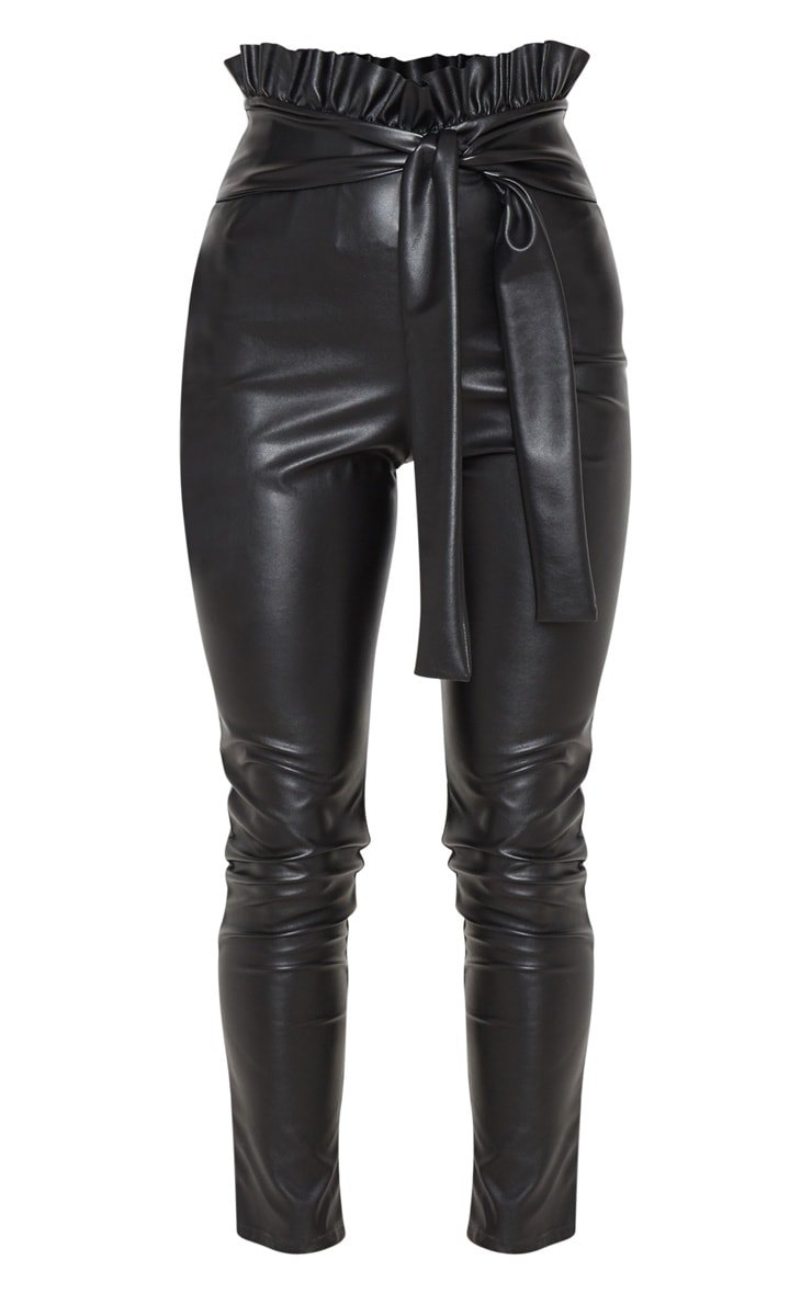 Black Faux Leather Paper bag Skinny Pants 3