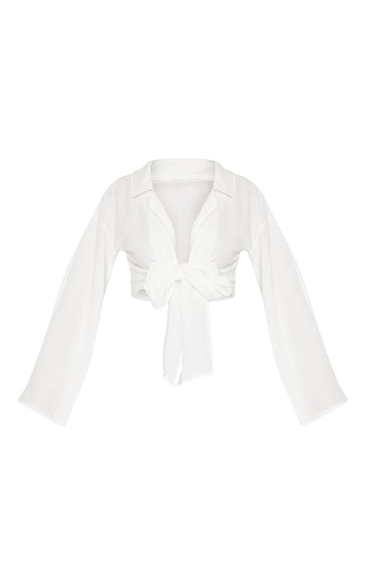 White Textured Oversized Tie Front Shirt 3