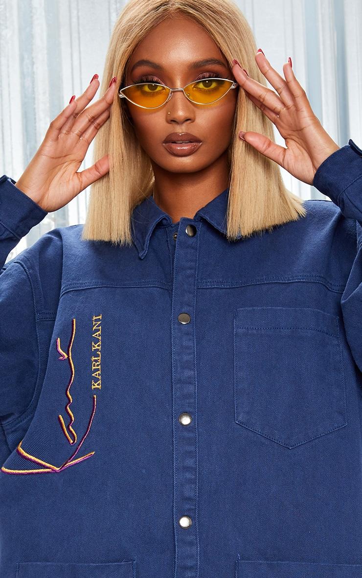 KARL KANI Blue Oversized Denim Shirt Dress 8