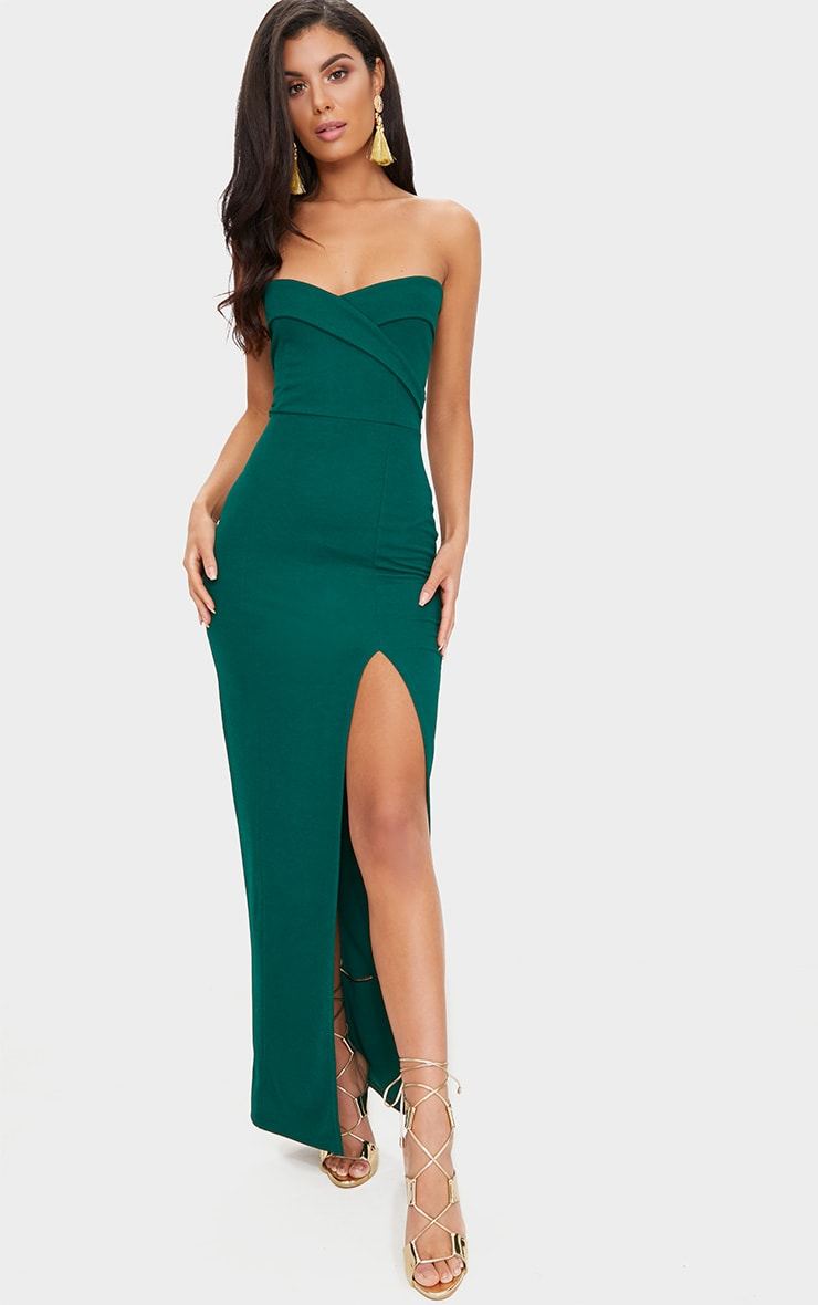 Emerald Green Bandeau Folded Detail Extreme Split Maxi Dress  1