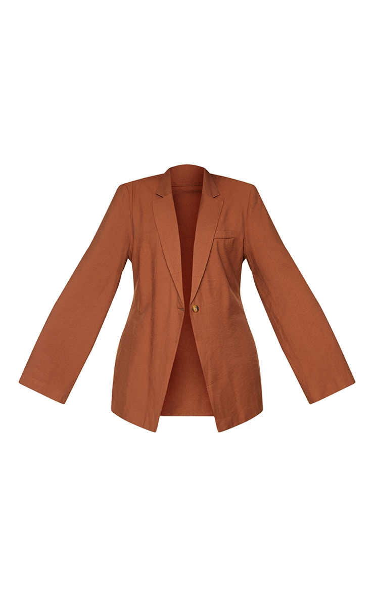 Plus Chocolate Woven Shoulder Padded Longline Fitted Blazer 5