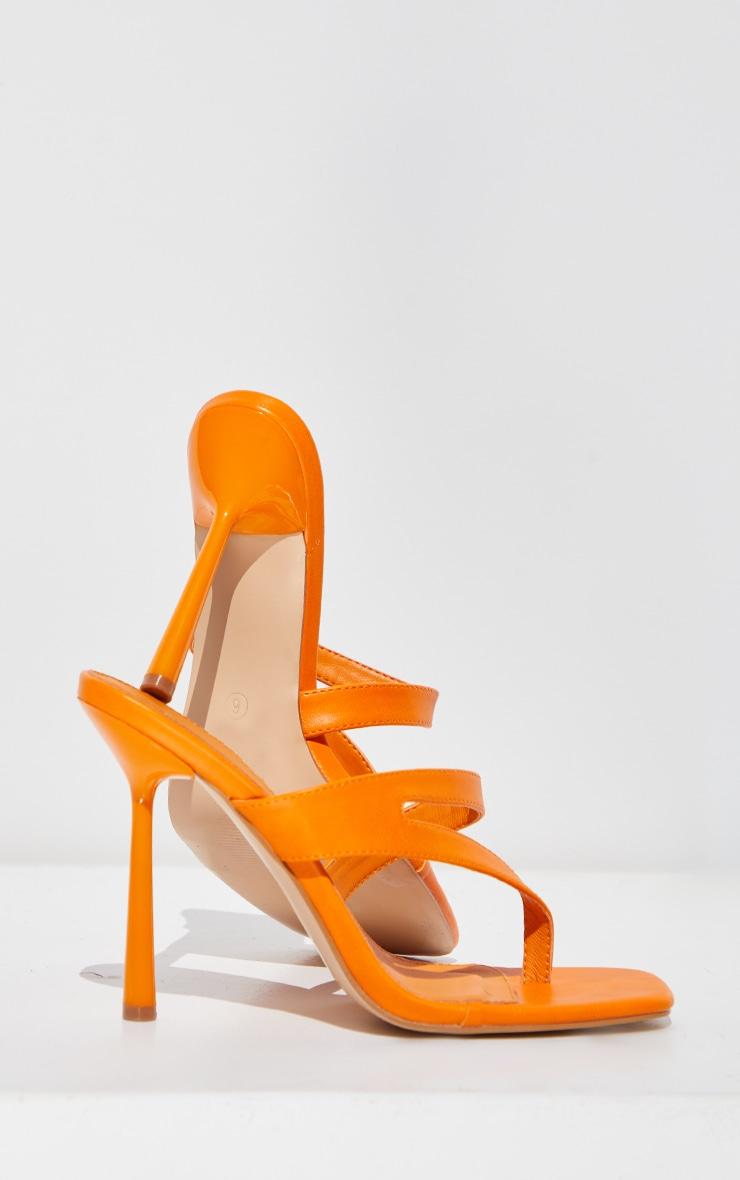 Orange PU Asymmetric High Heeled Mules 4