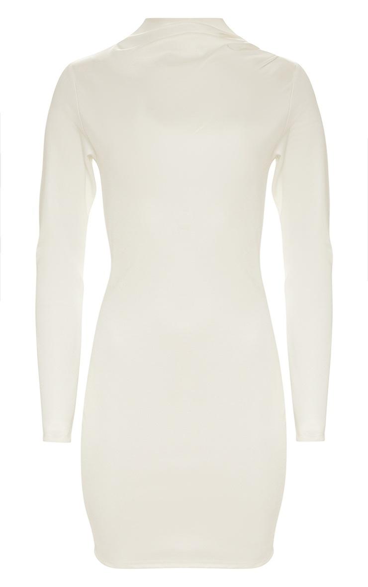 White Second Skin High Neck Pleat Detail Bodycon Dress 3