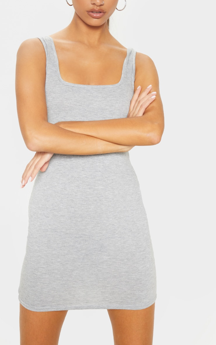 Tall Grey Square Neck Mini Dress 5