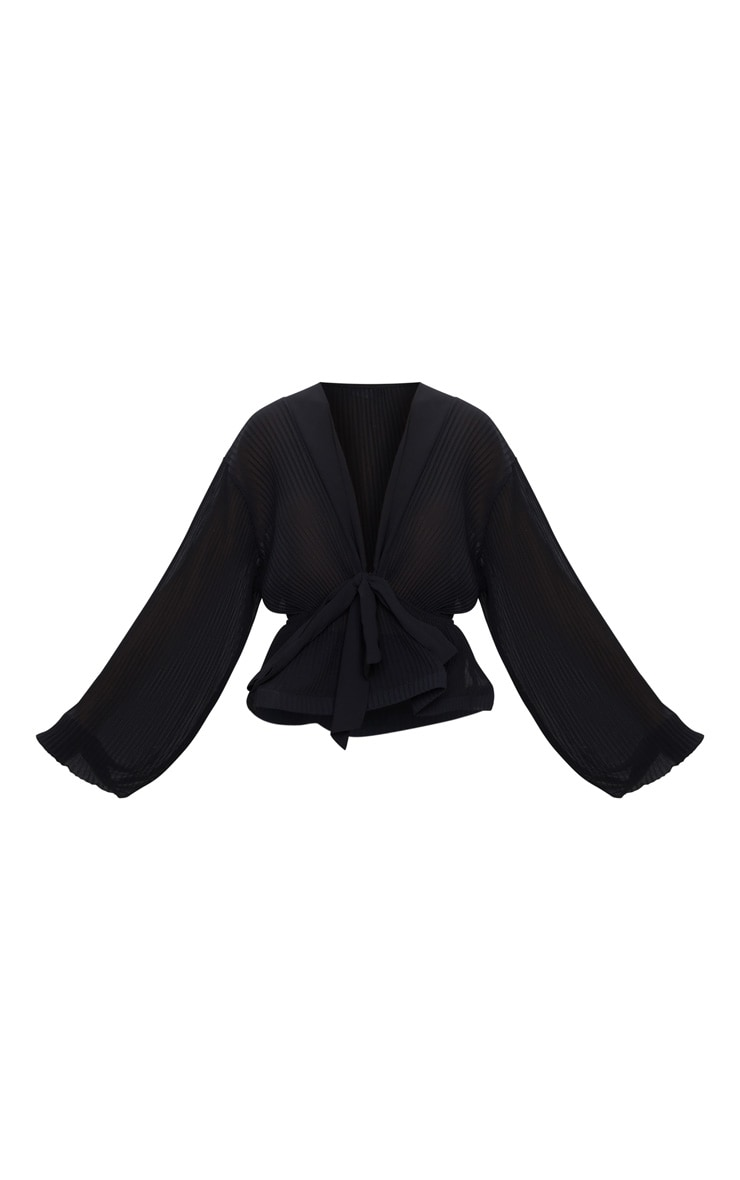 Black Chiffon Pleated Flounced Hem Blouse 3