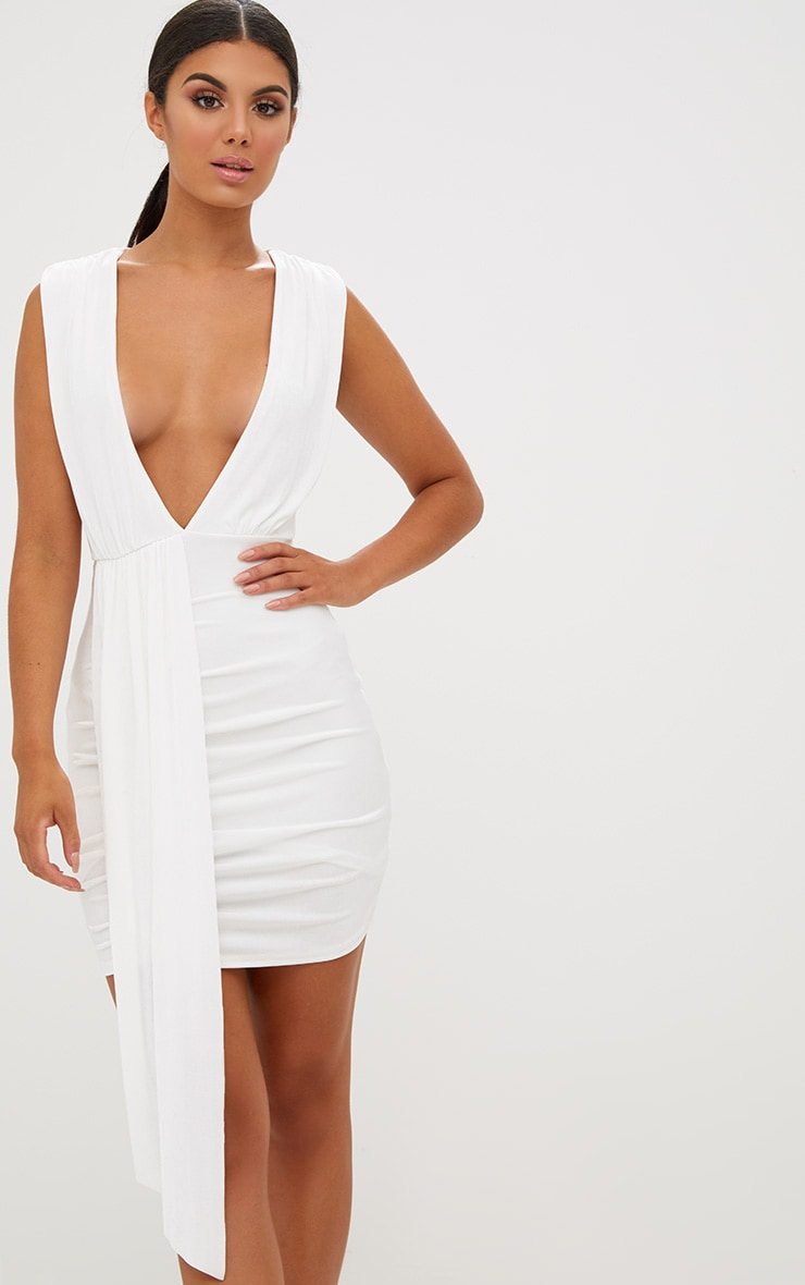 White Plunge Neckline Drape Detail Bodycon Dress 2