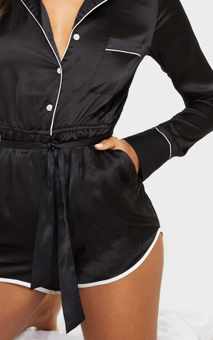 Black Long Sleeve Satin Romper 5