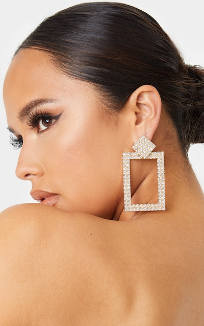 Gold Crystal Rectangle Door Knocker Drop Earring