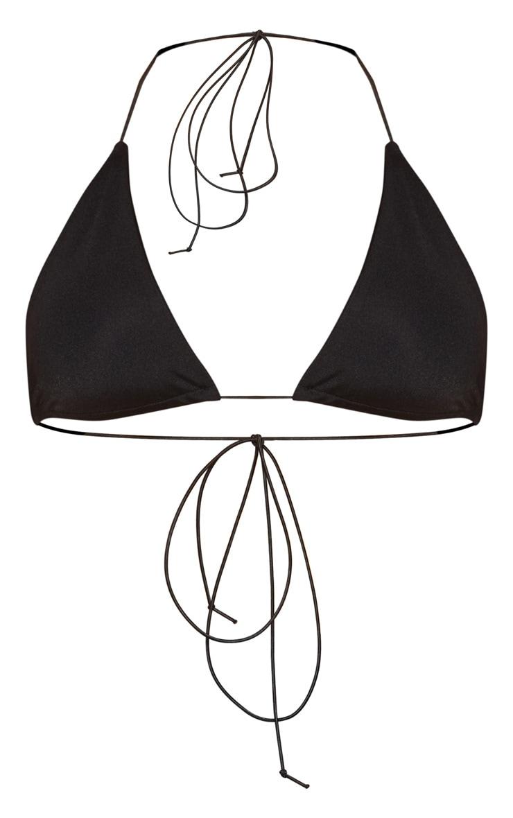 Black Minimal Elastic Triangle Bikini Top 3