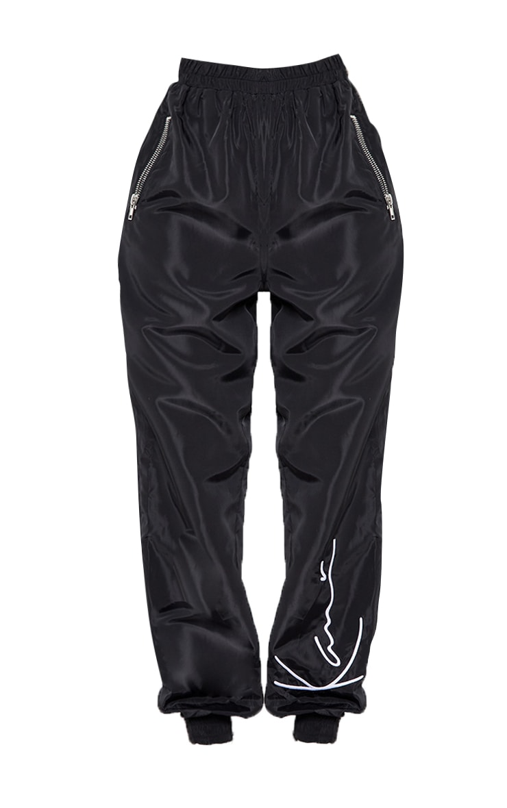 KARL KANI Black Embroidered Shell Joggers 5
