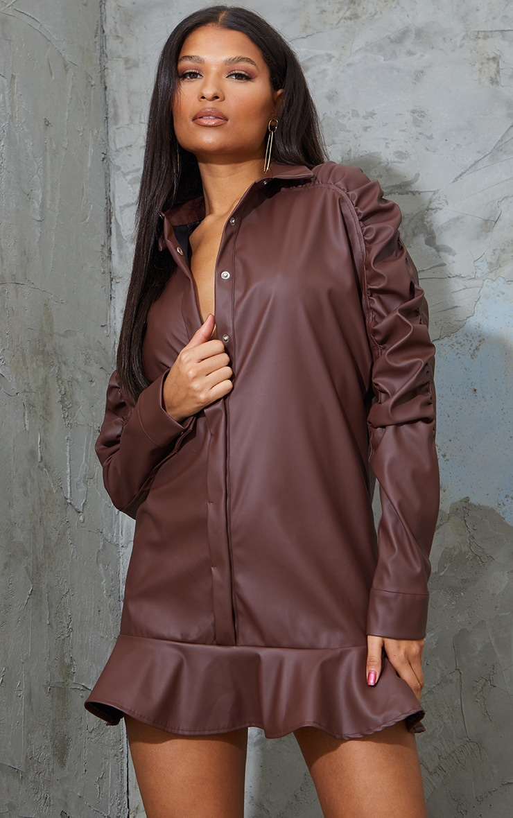 Chocolate Faux Leather Ruched Sleeve Frill Hem Shift Dress 1