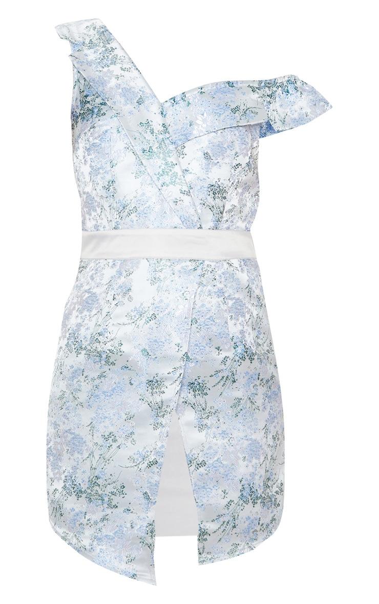 Silver Asymmetric Bardot Jacquard Blazer Dress 3