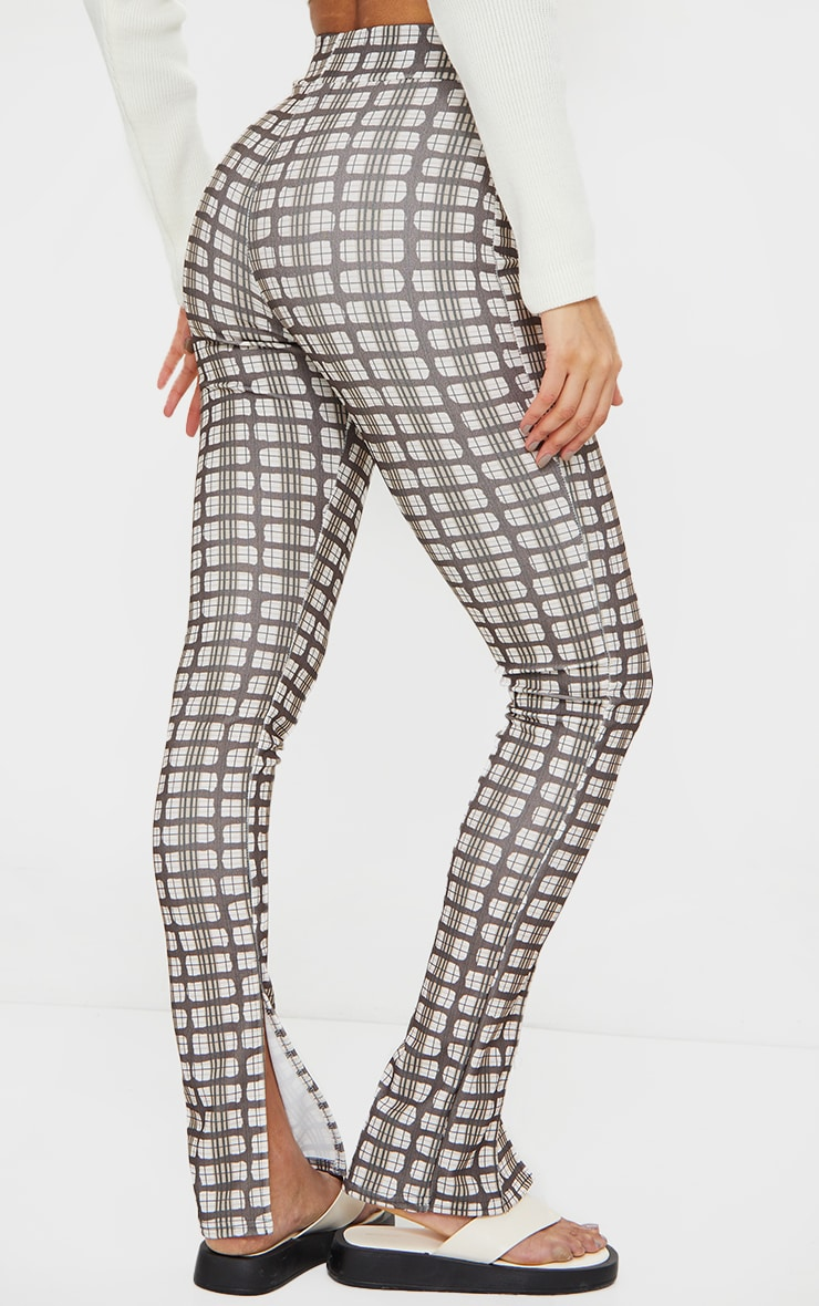 Brown Check Split Hem Detail Skinny Trousers 3