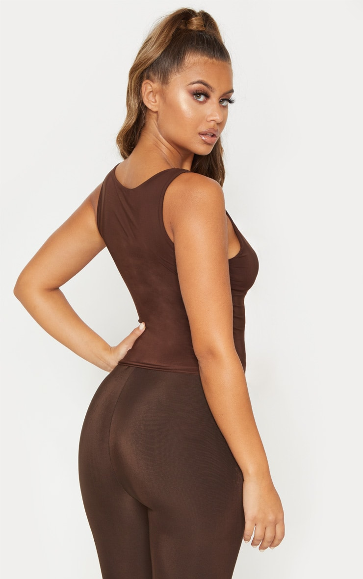 Chocolate Slinky V Neck Vest Top 2