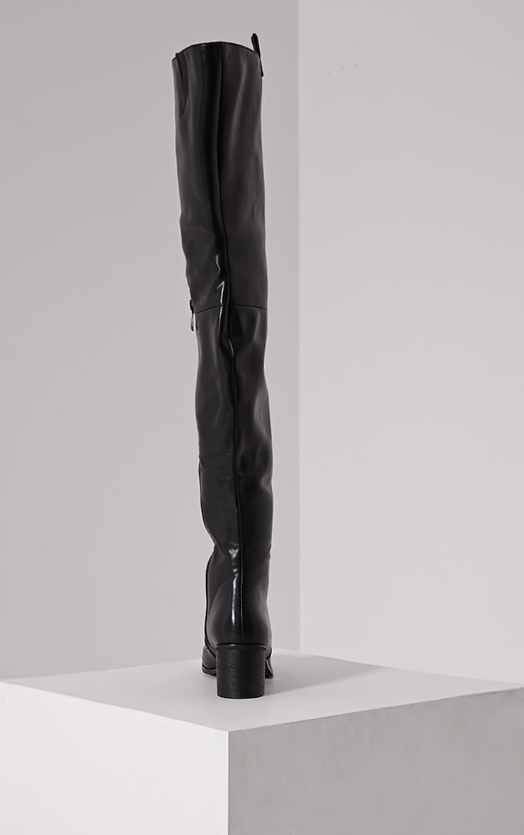 Cally Black Faux Leather Thigh High Over Knee Boots 5