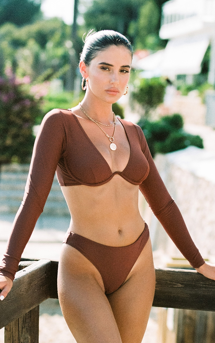 Deep Brown Mix & Match Cheeky Bum Bikini Bottom 3