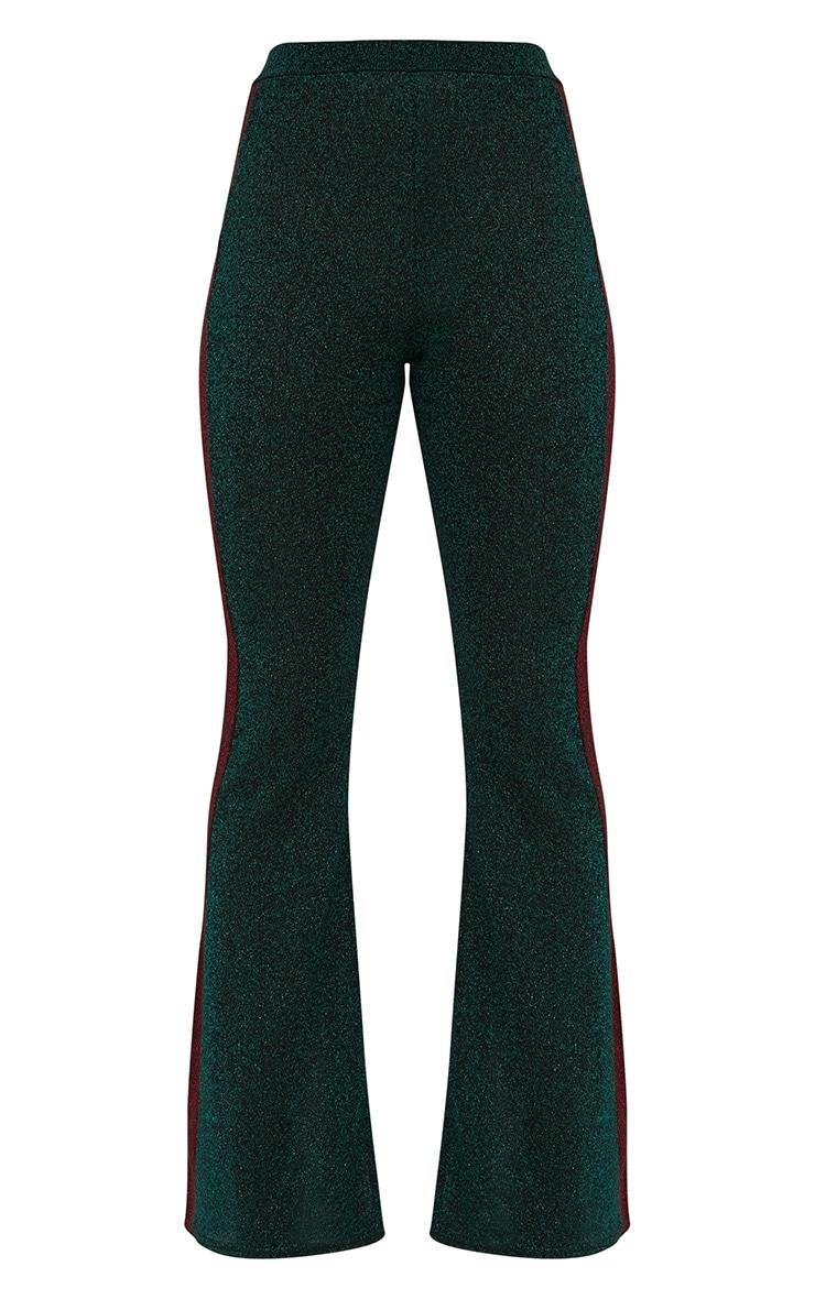 Emerald Green Metallic Track Stripe Kick Flare Trousers 3