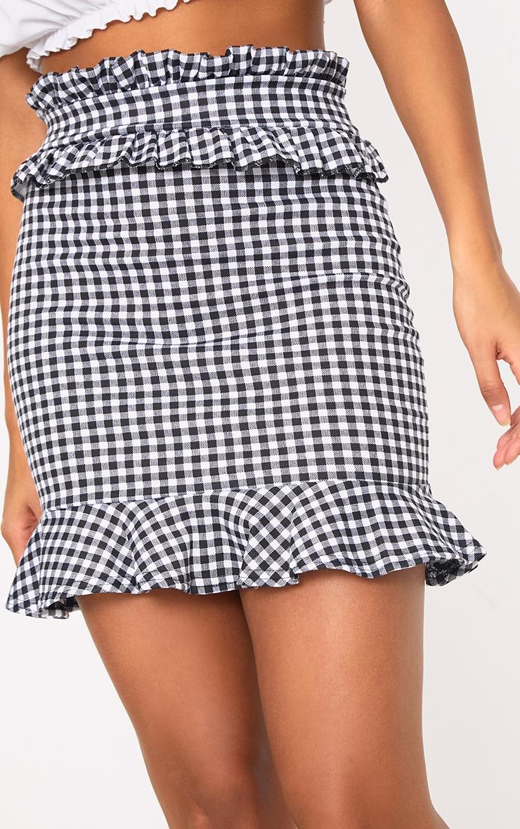 Black Gingham Frill Trim Mini Skirt 5