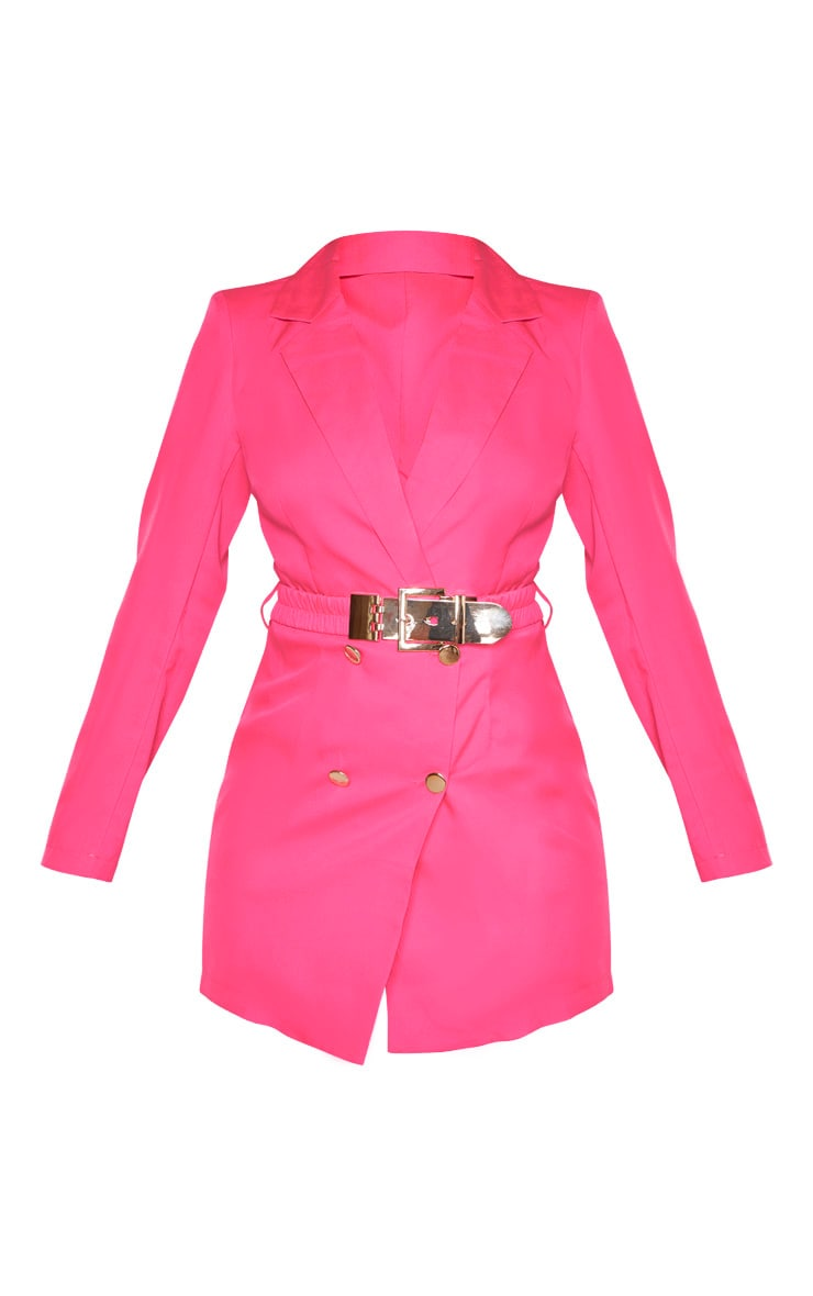 Hot Pink Double Breasted Belt Detail Blazer 3