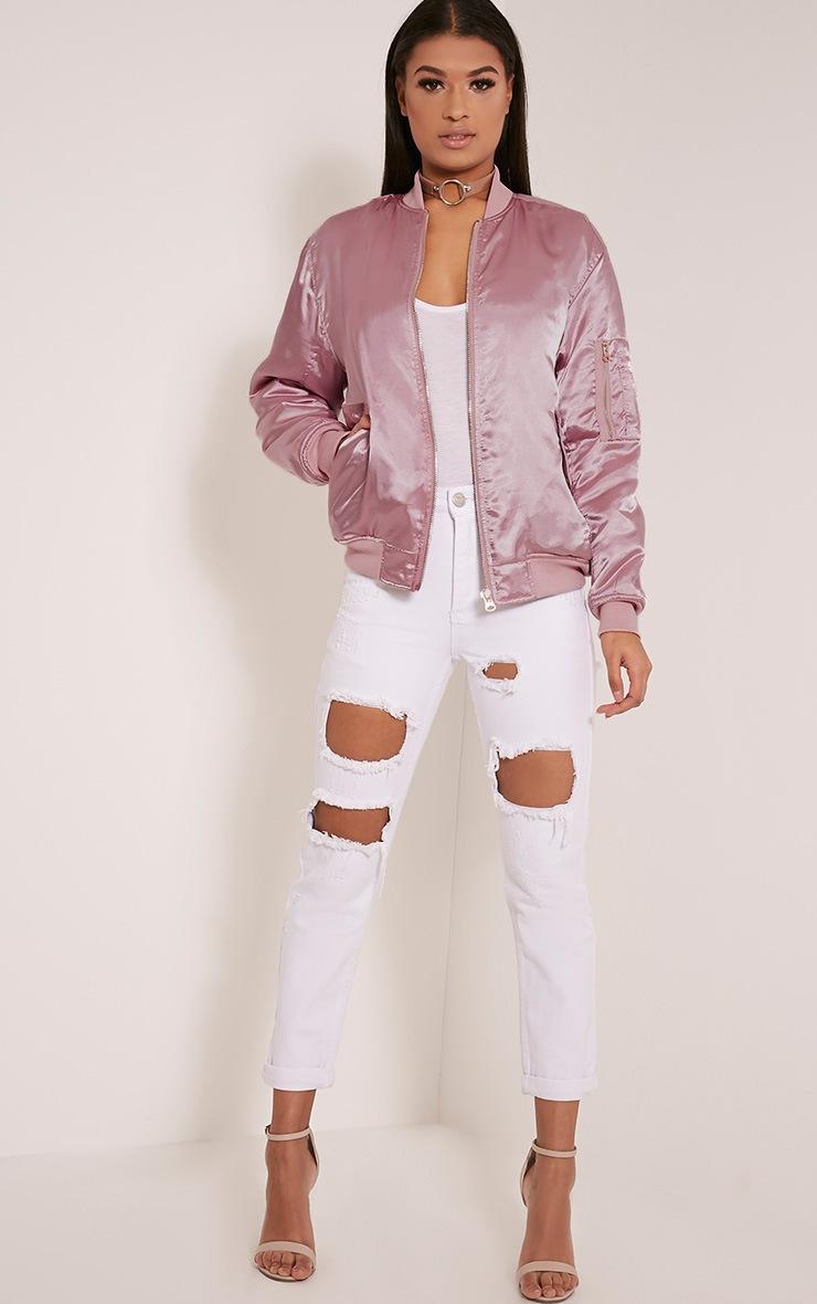 Cruz Dusty Pink Satin Oversized Bomber Jacket 4