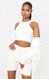 White Stretch Slinky Racer Crop Top 1