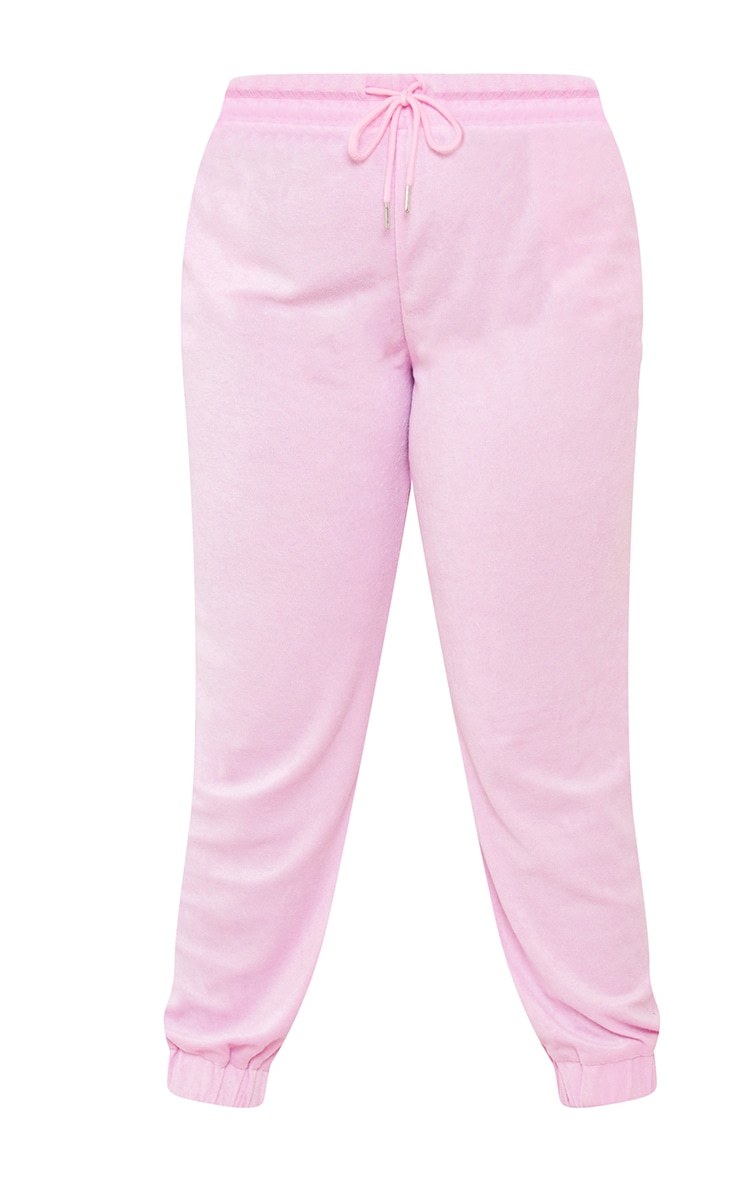 Plus Pink Towelling Joggers 5