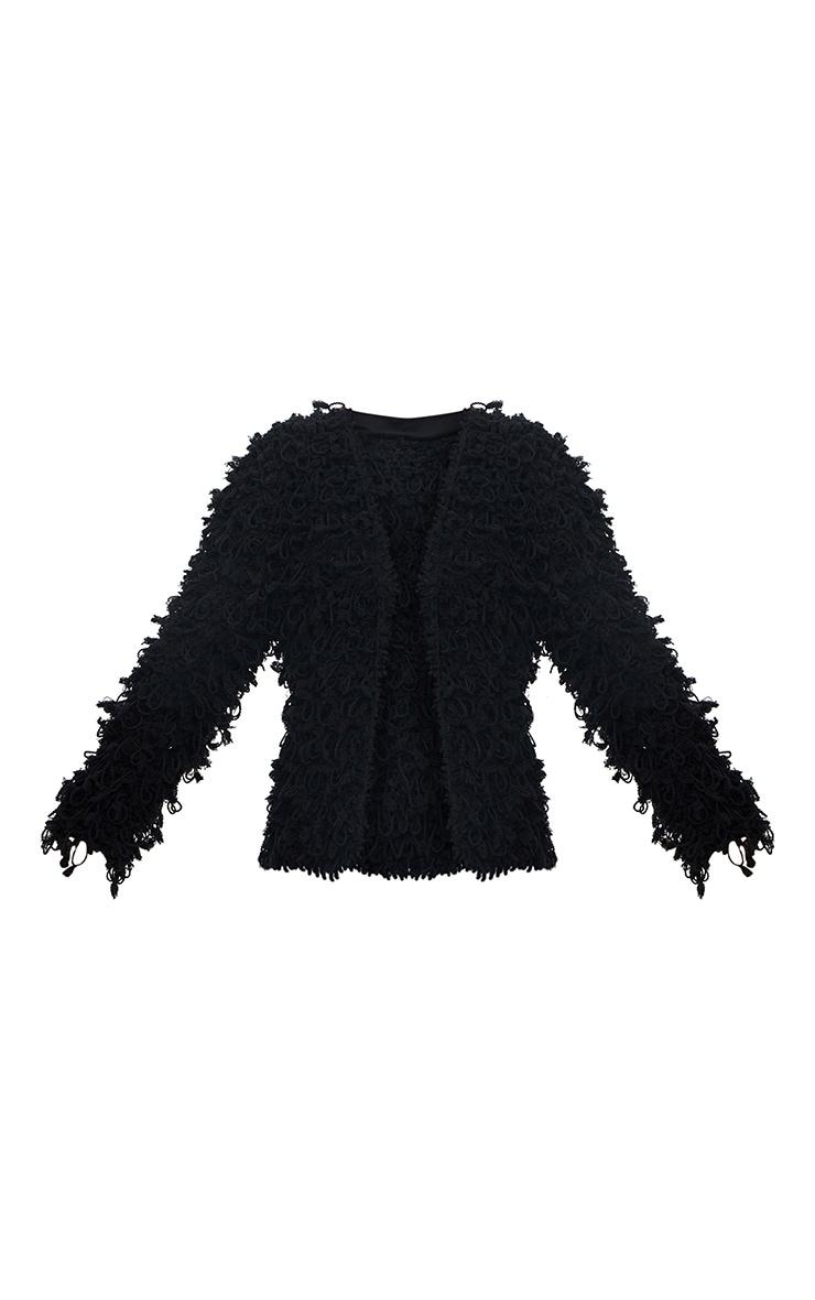 Cardigan noir tricoté surpiqué 3