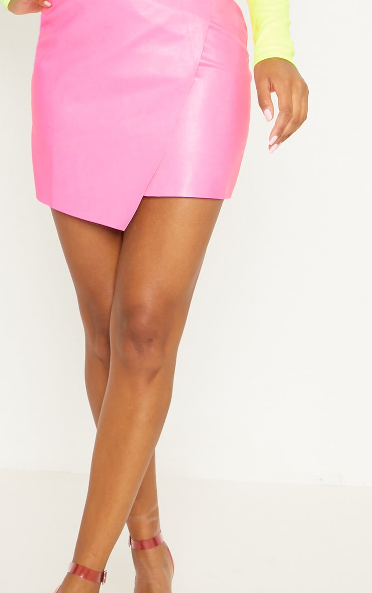 Hot Pink Faux Leather Wrap Mini Skirt 6