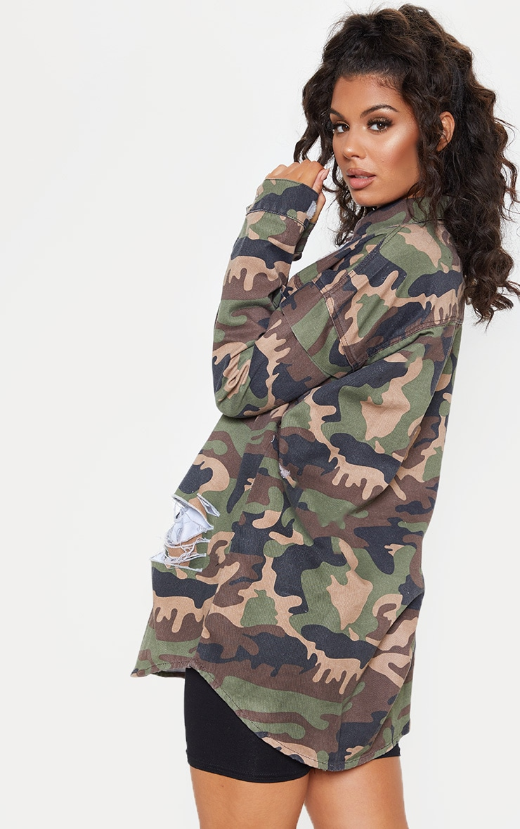 Camo Oversized Distressed Denim Shirt 2