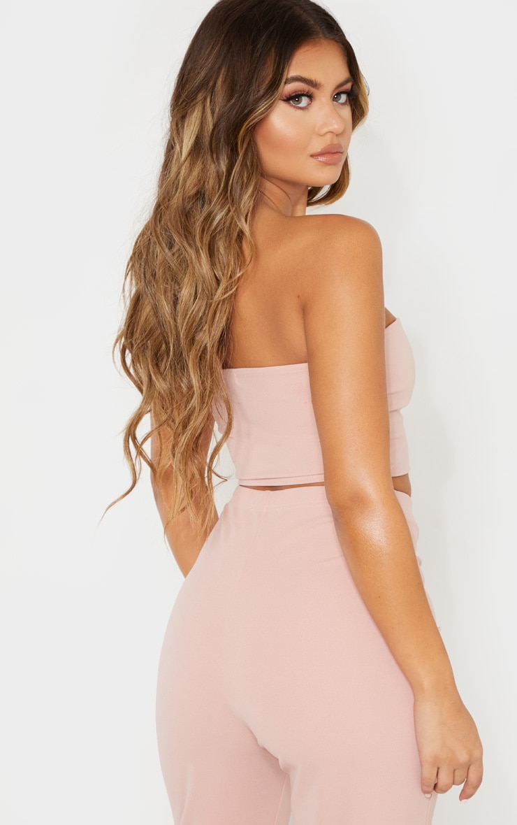 Dusty Pink Sweetheart Bandeau Crop Top 2