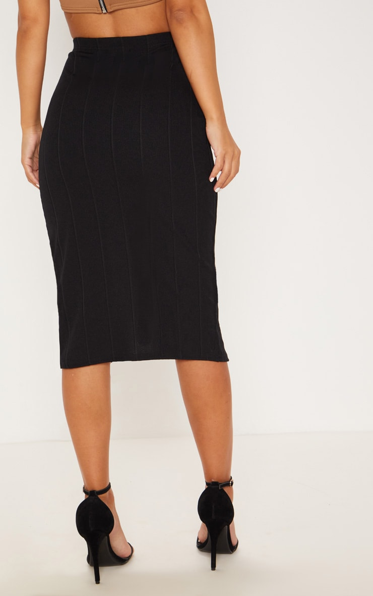 Petite Black Tortoise Button Midi Skirt 4