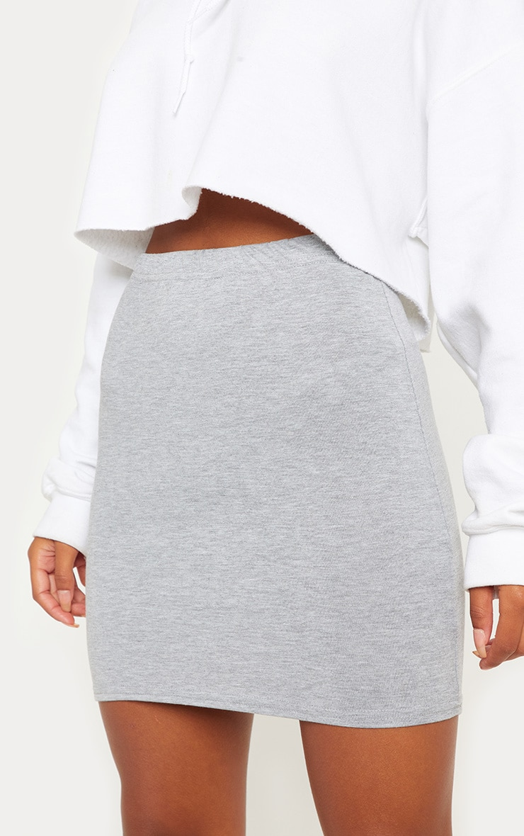 Grey Basic Jersey Mini Skirt 6