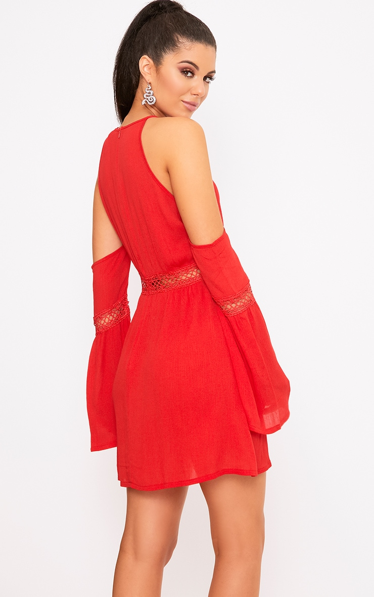 Red Cheesecloth Cold Shoulder Swing Dress  2
