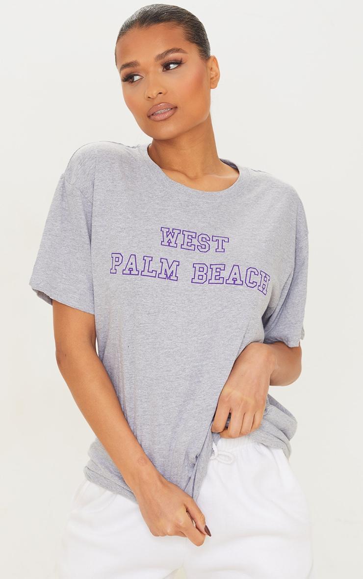 Grey West Palm Beach Print T Shirt 1
