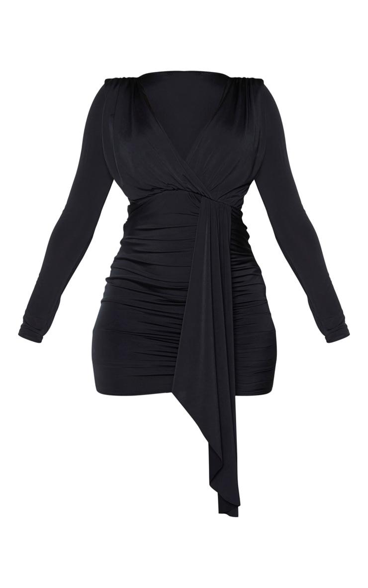 Robe moulante slinky noire à détail drapé et froncée sur l'avant 5