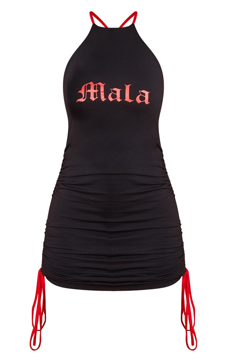 Black Ruched Mala Bodycon Dress 5