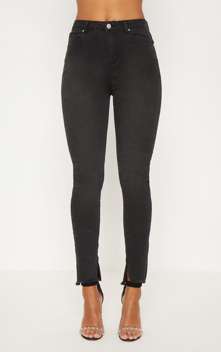 Black Split Hem High Waisted Skinny Jean 6