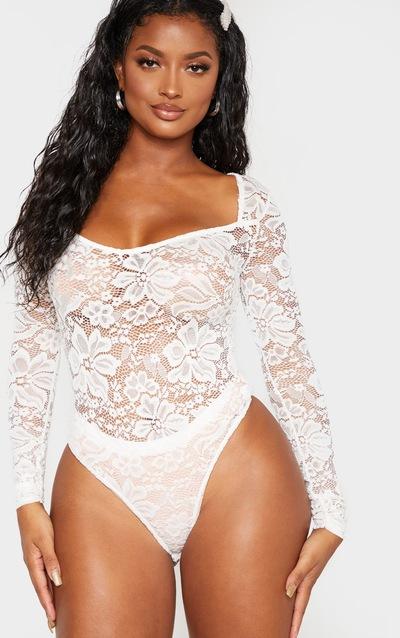 Shape White Lace V Neck Long Sleeve Bodysuit