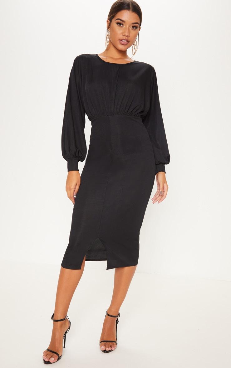 Robe mi-longue maille fine noire ballon. Robes   PrettyLittleThing FR a685b068c14a