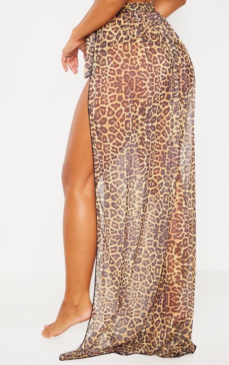 Paréo de plage long à imprimé léopard 4