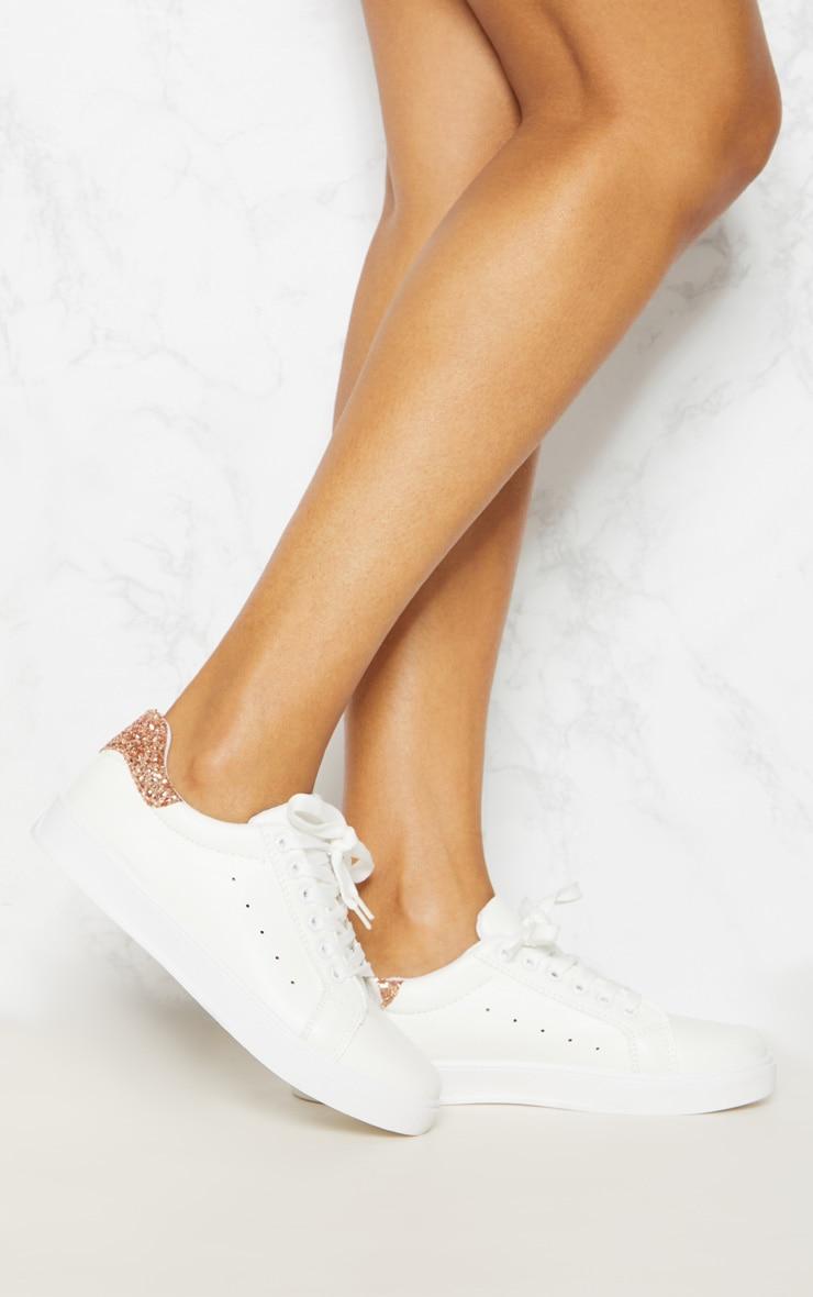 White Glitter Detail Flatform Trainer 1