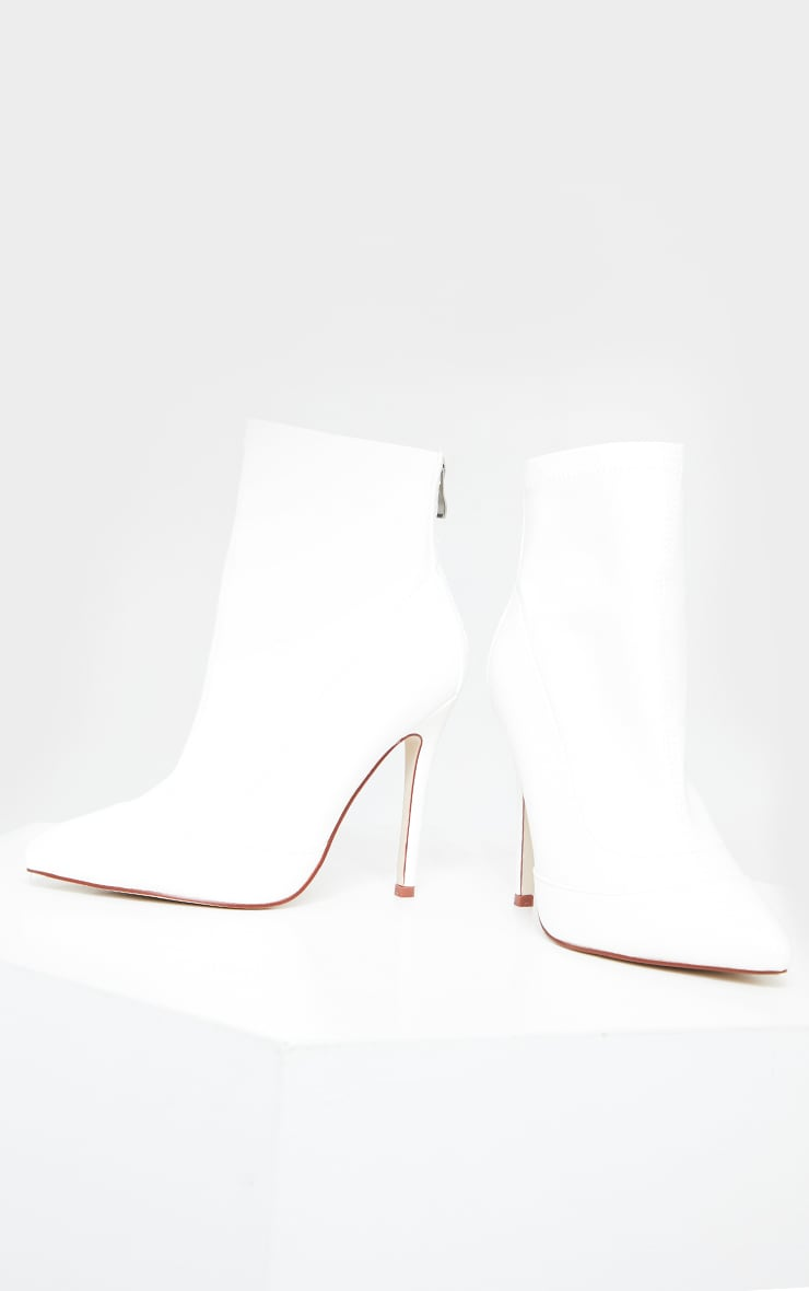 White WIDE FIT Pu Pointed Ankle Sock Boots 1