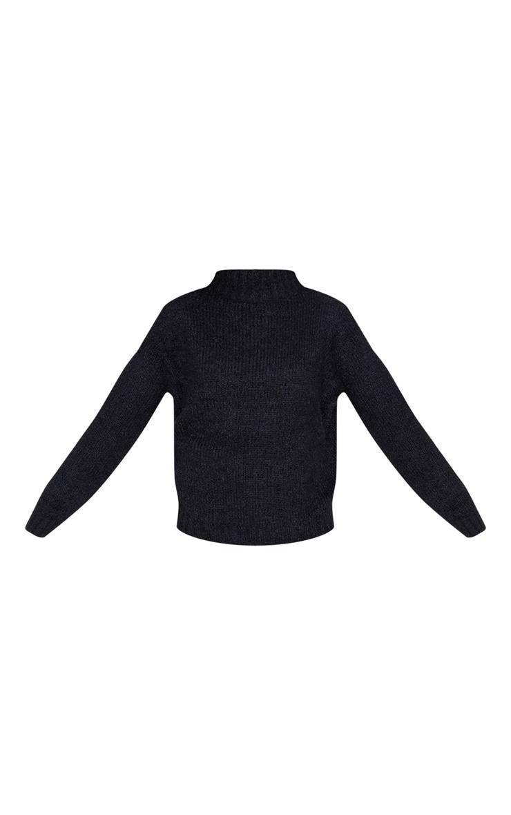 Black Fluffy Knit Funnel Neck Jumper 3