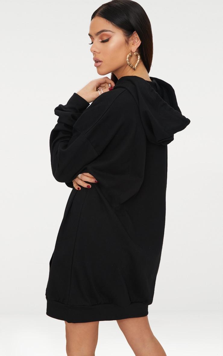 Black Oversized Hoodie Dress 2