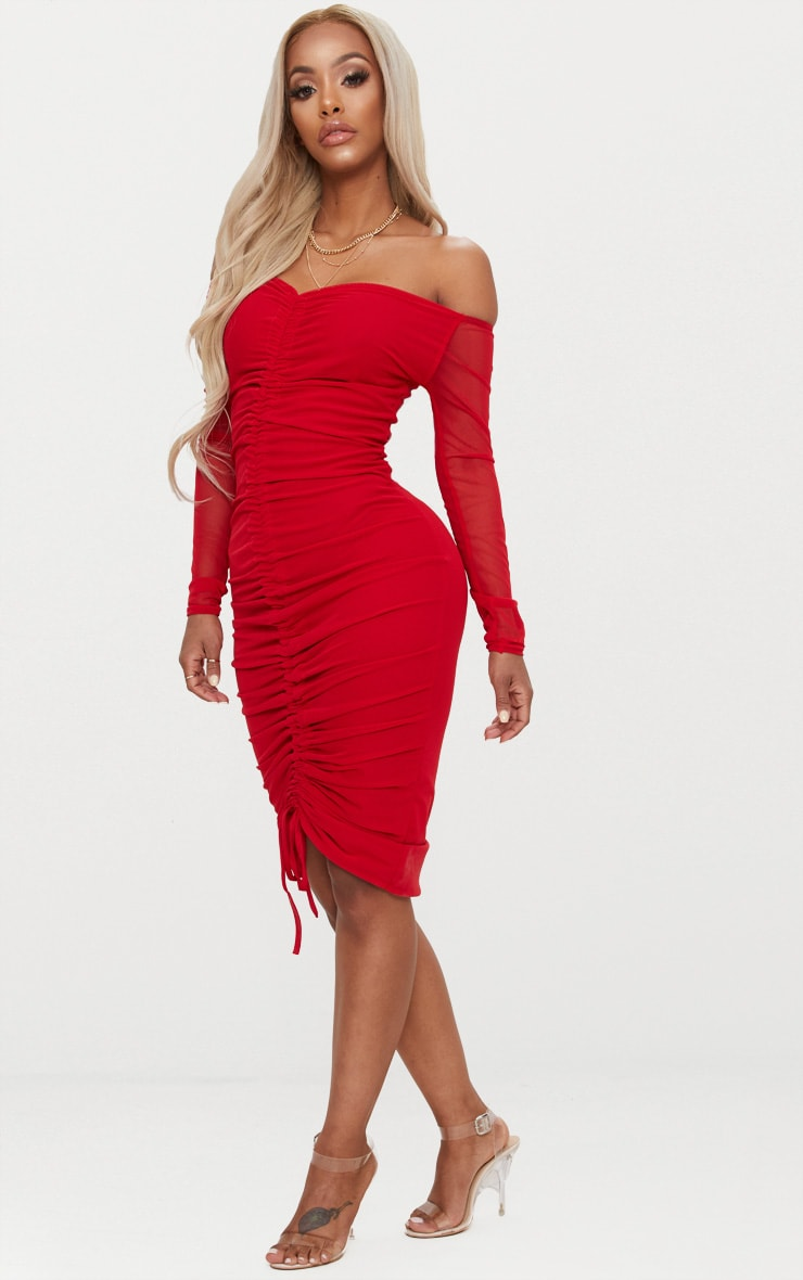 Shape Red Mesh Ruched Bardot Midi Dress 4