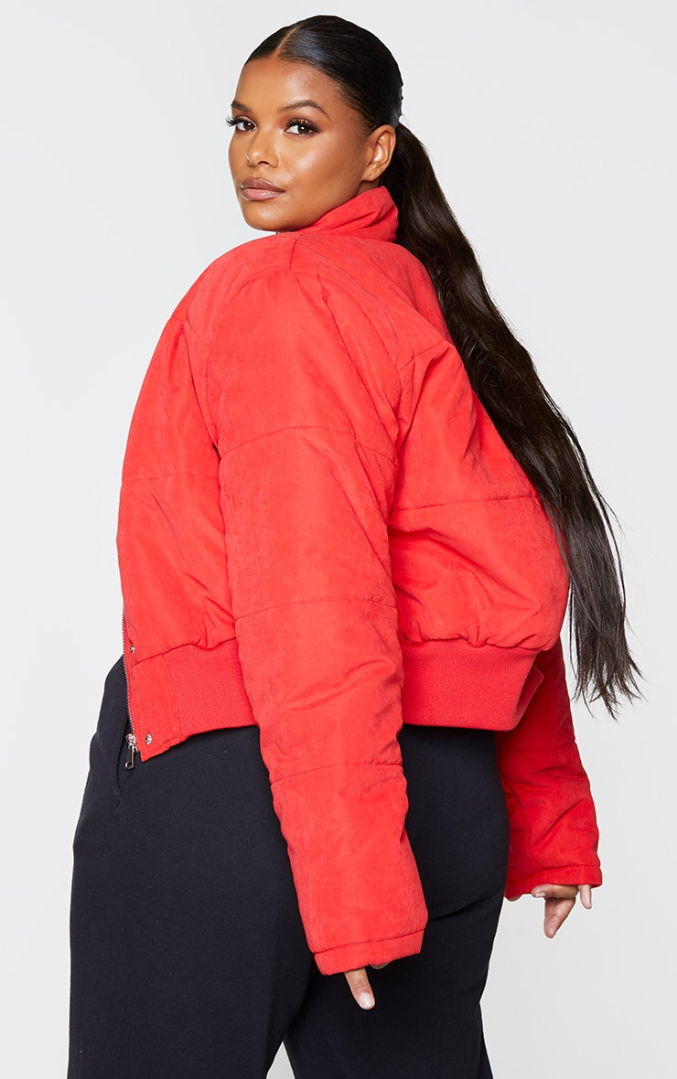 Plus Red Peach Skin Cropped Puffer Jacket 2