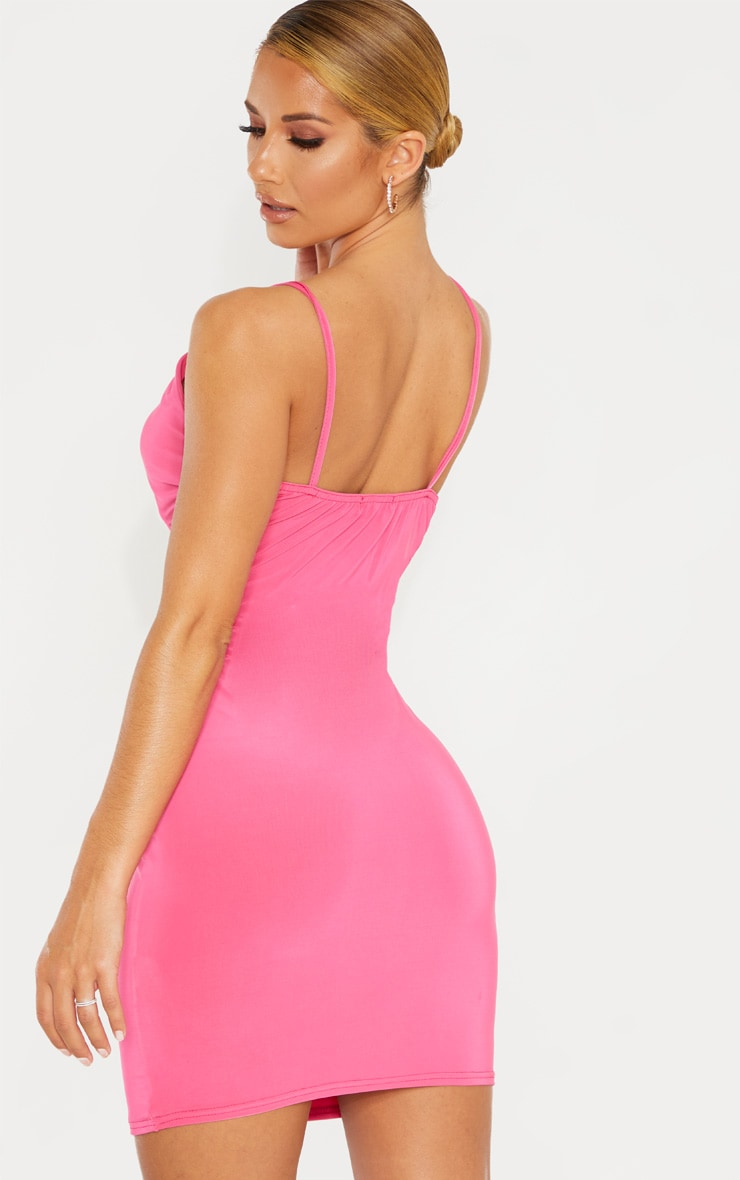 Pink Slinky Cut Out Tie Detail Bodycon Dress 2