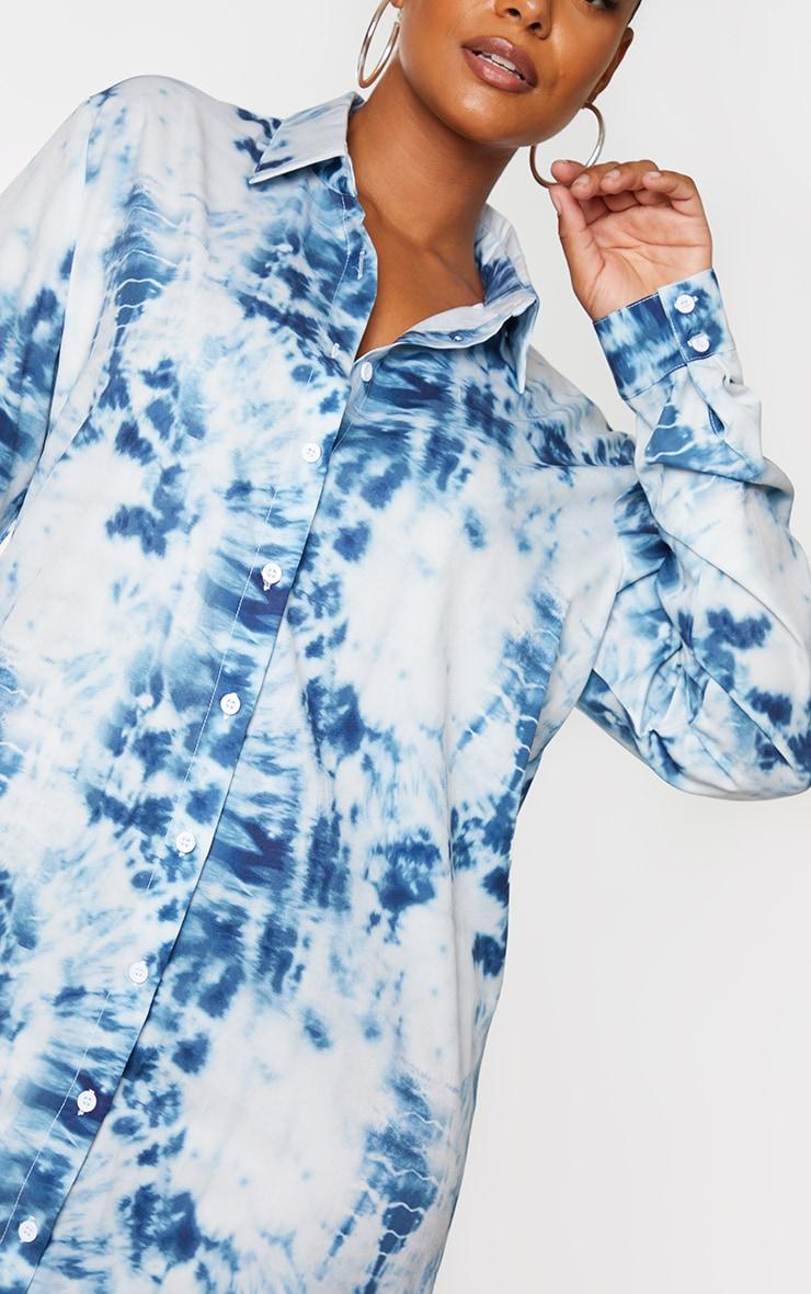 Plus Dusty Blue Tie Dye Oversized Shirt Dress 4