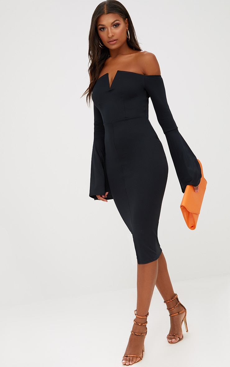 Black Bardot Flared Sleeve Midi Dress 4