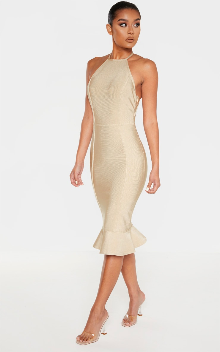 Champagne Bandage Cross Strap Open Back Frill Hem Midi Dress 4